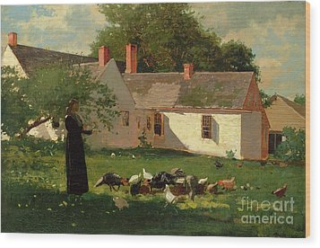 Farmyard Scene Wood Print by Winslow Homer