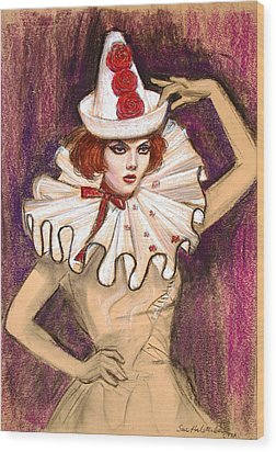 Wood Print featuring the drawing Fashion Clown by Sue Halstenberg