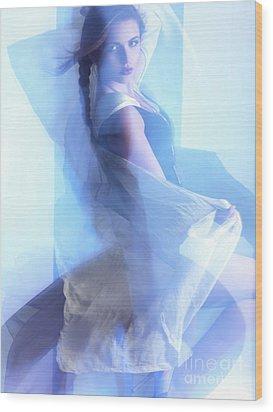 Fashion Photo Of A Woman In Shining Blue Settings Wood Print by Oleksiy Maksymenko