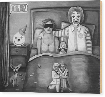 Fast Food Nightmare Bw Wood Print by Leah Saulnier The Painting Maniac