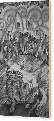 Fat Cat Fur Ball Wood Print