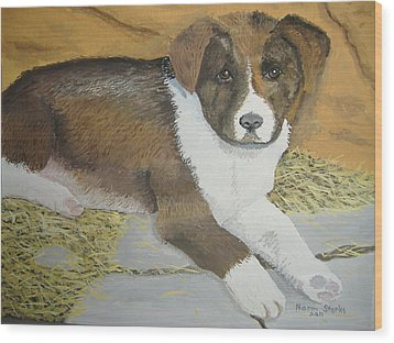 Wood Print featuring the painting Fat Puppy by Norm Starks