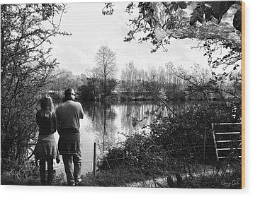 Father And Daughter - River Dee Chester Wood Print by Georgia Fowler