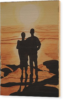 Wood Print featuring the painting Father And Son by Teresa Beyer