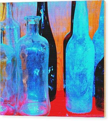Fauvist Bottles Wood Print