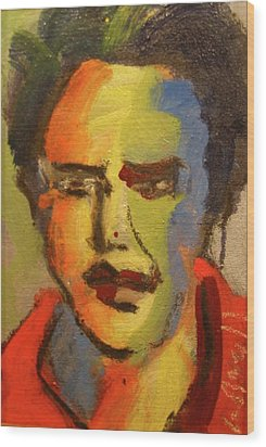 Wood Print featuring the painting Fauvist Elvis by Les Leffingwell