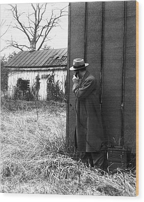 Fbi Agents With An Huge Portable Phone Wood Print by Everett
