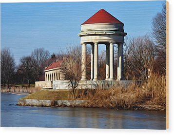 Fdr Park Gazebo And Boathouse Wood Print by Bill Cannon