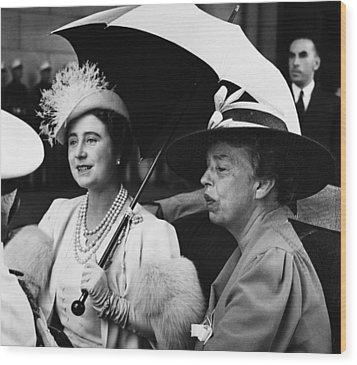 Fdr Presidency. British Queen Elizabeth Wood Print by Everett