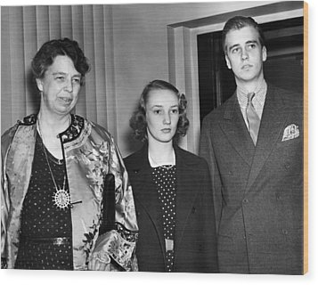 Fdr Presidency. From Left First Lady Wood Print by Everett