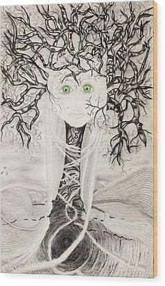 Wood Print featuring the drawing Fear by Yolanda Raker