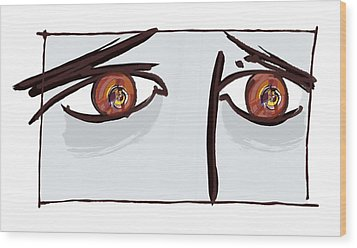 Fearful Eyes, Artwork Wood Print by Paul Brown