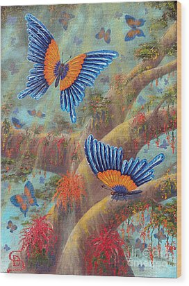 Feather Butterflies From Arboregal Wood Print