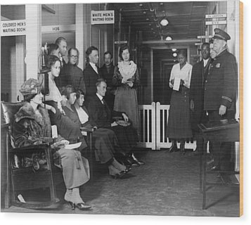 Federal Employees In Waiting In White Wood Print by Everett