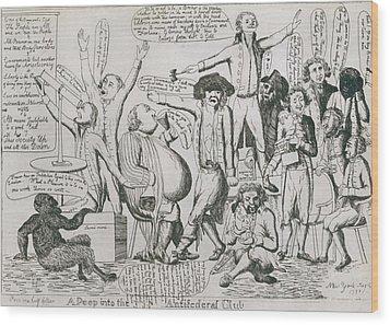 Federalist Cartoon Of 1793 Shows Wood Print by Everett