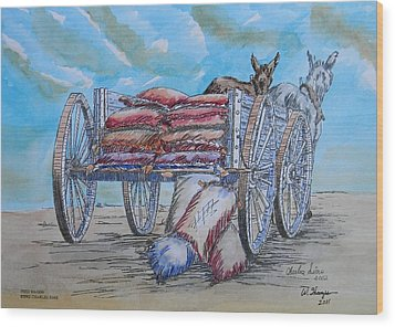 Feed Wagon Watercolor Wood Print by Charles Sims and Warren Thompson