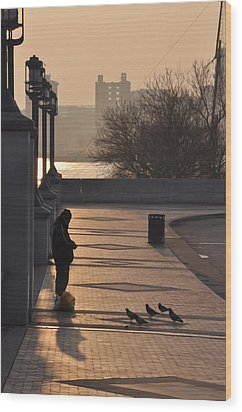 Feeding The Pigeons At Dawn Wood Print by Bill Cannon