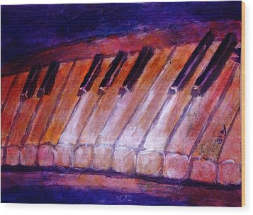 Feeling The Blues On Piano In Magenta Orange Red In D Major With Black And White Keys Of Music Wood Print