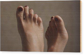 Feet Of A Happy Woman After Coupling Wood Print by Svetlana  Sokolova
