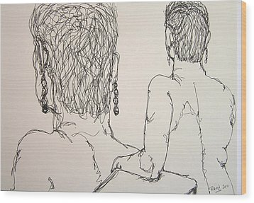 Female Nude Beside Herself Wood Print