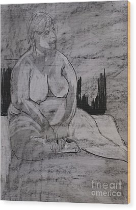 Female Nude Seated Wood Print by Joanne Claxton