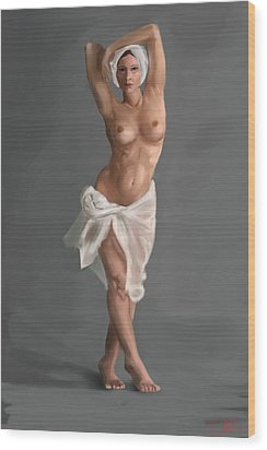 Female Nude Wood Print by Stephen Hawkes