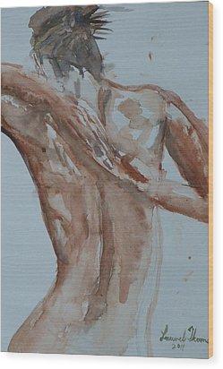 Female Nude Study No 1 Wood Print by Laurel Thomson
