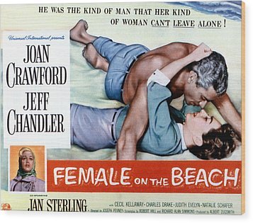 Female On The Beach, Jeff Chandler Wood Print by Everett