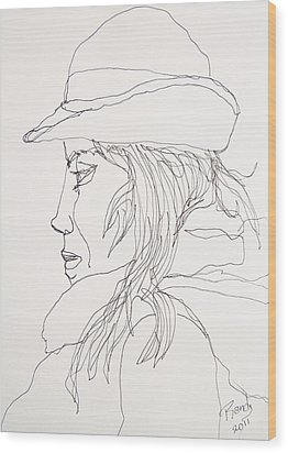 Wood Print featuring the drawing Female Portrait 017 by Rand Swift