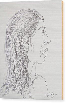 Female Portrait On Bus Wood Print