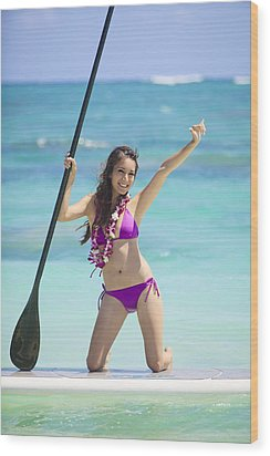 Female Stand Up Paddler Wood Print by Tomas del Amo