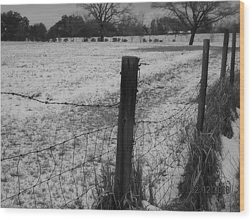 Fence And Snow Wood Print by Floyd Smith