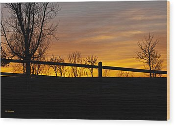 Wood Print featuring the photograph Fence At Sunset by Edward Peterson
