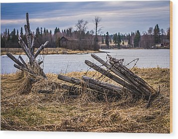 Wood Print featuring the photograph Fence In A Haystack by Matti Ollikainen