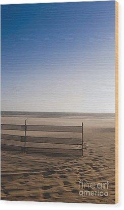 Fence On Beach Wood Print by Sam Bloomberg-rissman