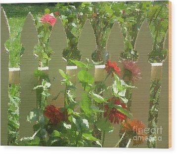 Fence On Benner's School Road Wood Print