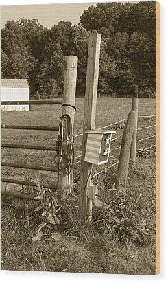 Fence Post Wood Print by Jennifer Ancker
