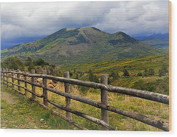 Fence Row And Mountains Wood Print by Marty Koch