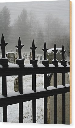 Fence With Snow Wood Print