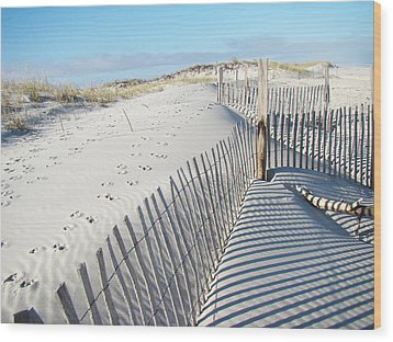 Fences Shadows And Sand Dunes Wood Print by Mother Nature