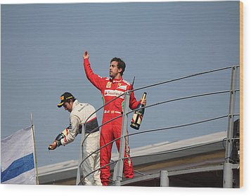 Wood Print featuring the photograph Fernando Alonso And Sergio Perez by David Grant