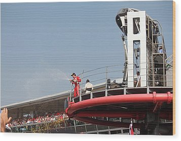 Wood Print featuring the photograph Fernando Alonso At Monza 2012 by David Grant