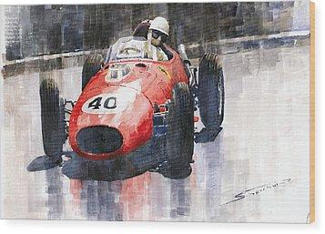 Ferrari Dino 246 F1 Monaco Gp 1958 Wolfgang Von Trips Wood Print by Yuriy  Shevchuk