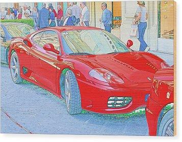Ferrari In Rome Wood Print by Don Fleming