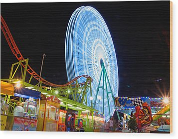 Ferris Wheel At Night Wood Print by Stelios Kleanthous