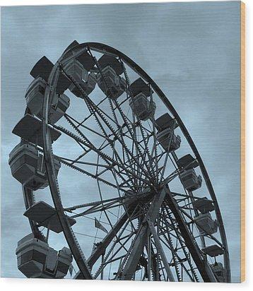 Wood Print featuring the photograph Ferris Wheel Blue Sky by Ramona Johnston