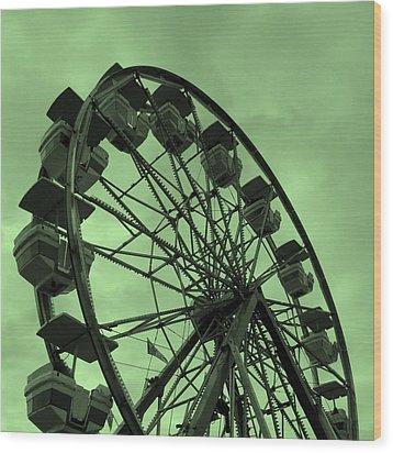 Ferris Wheel Green Sky Wood Print by Ramona Johnston