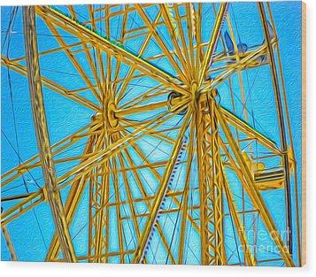 Ferris Wheel Wood Print by Gregory Dyer