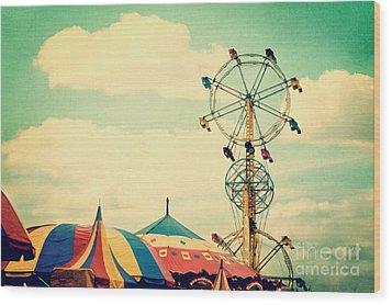 Ferris Wheel Wood Print by Kim Fearheiley