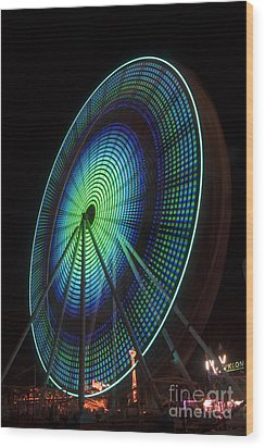Ferris Wheel Lit Shades Of Green And Blue Wood Print